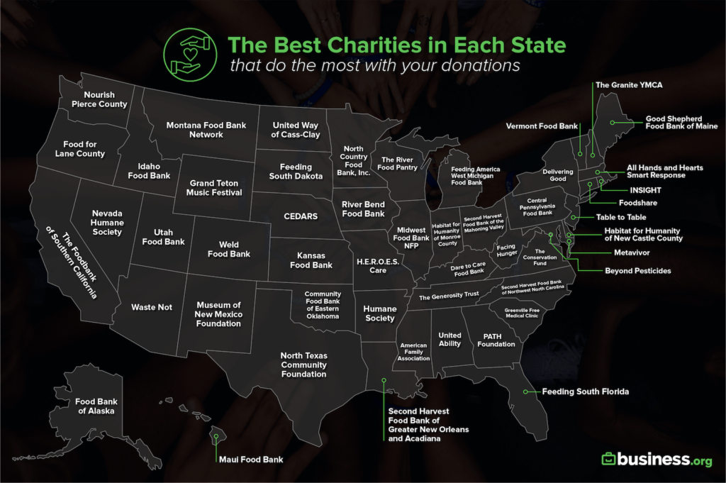 best charities by state map
