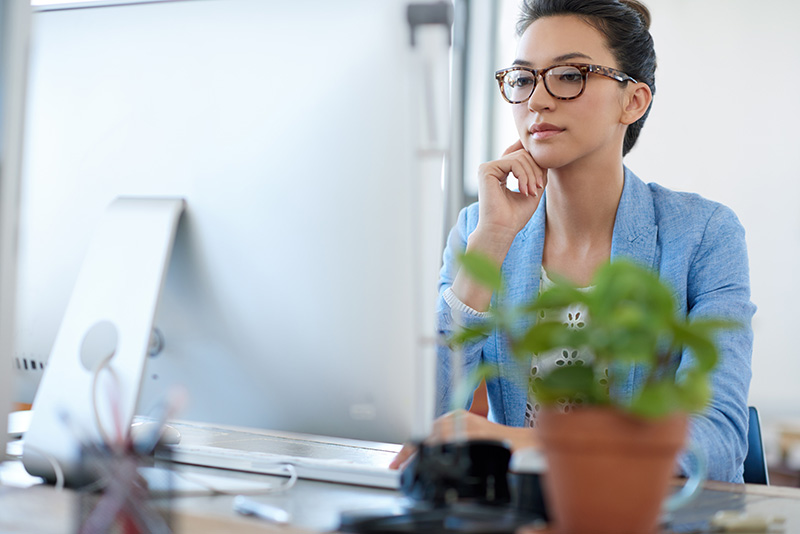 businesswoman considering a business line of credit