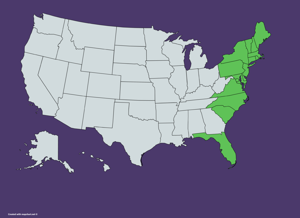 US map of states where TD Bank is available (Connecticut, Delaware, D.C., Florida, Maine, Maryland, Massachusetts, New Hampshire, New Jersey, New York, North Carolina, Pennsylvania, Rhode Island, South Carolina, Vermont, Virginia)
