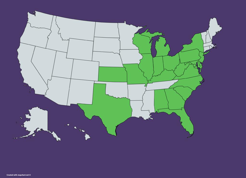 US map showing states where PNC is available, including Alabama, Delaware, DC, Florida, Georgia, Illinois, Indiana, Kansas, Kentucky, Maryland, Michigan, Missouri, New Jersey, New York, North Carolina, Ohio, Pennsylvania, South Carolina, Texas, Virginia, West Virginia, Wisconsin