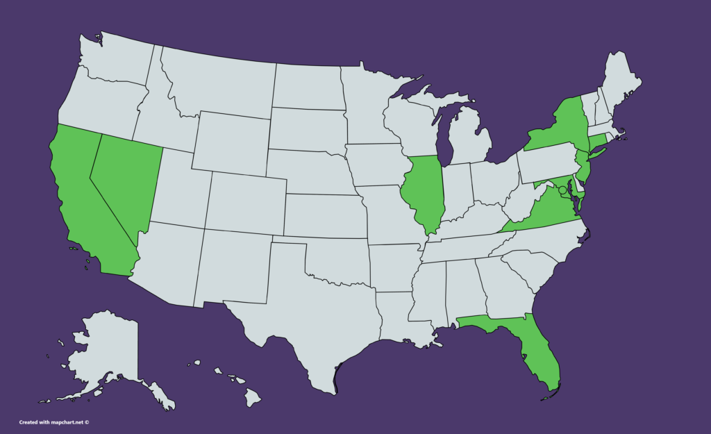 US map of states where Citibank is available, including California, Connecticut, Florida, Illinois, Maryland, New Jersey, New York, Nevada, and Virginia