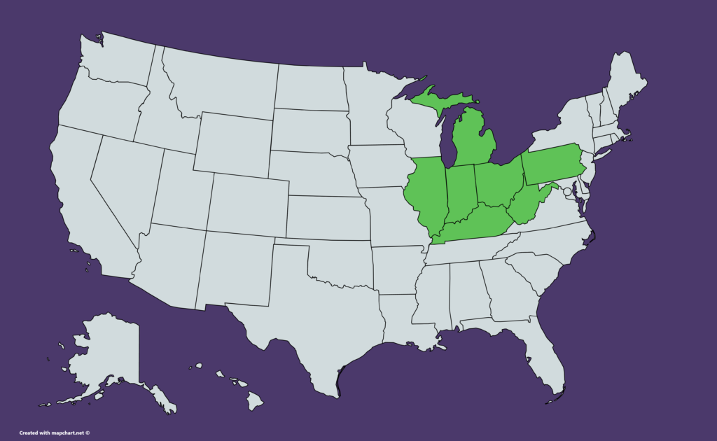 US map of states Huntington is available in, including Illinois, Indiana, Kentucky, Michigan, Ohio, Pennsylvania, West Virginia