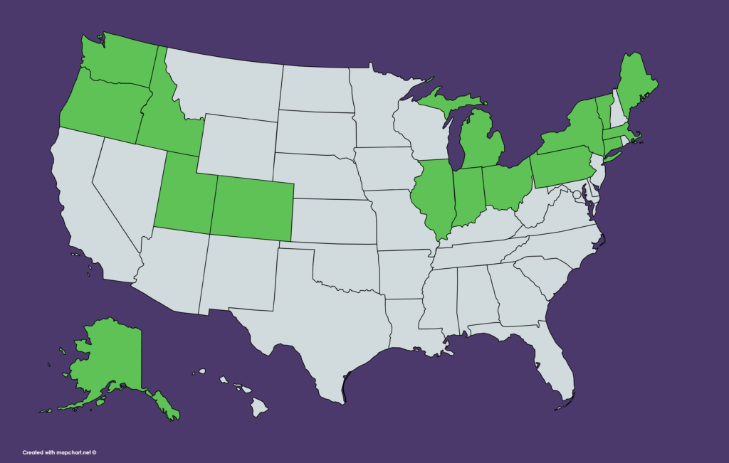 US map showing states where KeyBank is available: Alaska, Colorado, Connecticut, Idaho, Illinois, Indiana, Maine, Massachusetts, Michigan, New York, Ohio, Oregon, Pennsylvania, Utah, Vermont, Washington
