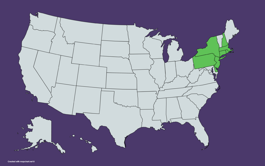 US map showing states where Santander is available: Connecticut, Delaware, Mass., New Hampshire, New Jersey, New York, Pennsylvannia, Rhode Island