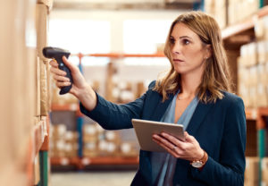 Using a barcode reader in a warehouse