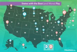 Map Illustration of States with the Best and Worst Pay