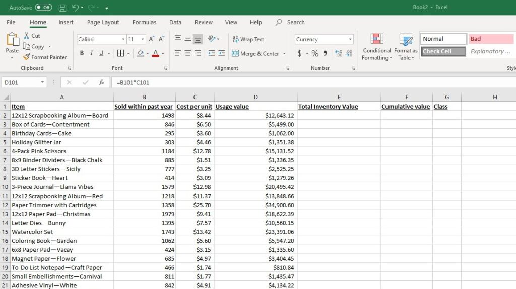 Spreadsheet with usage value for each item