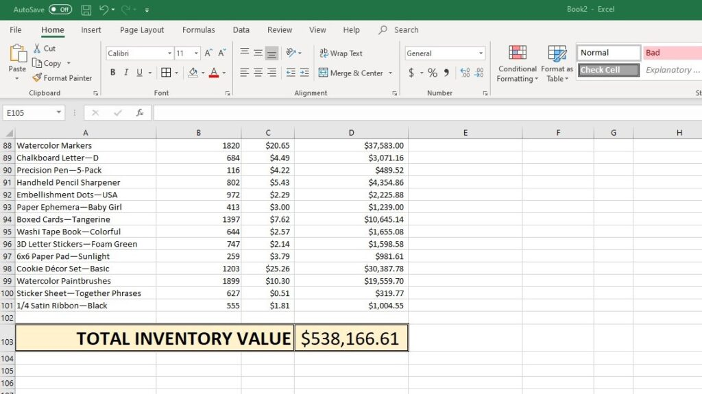 Spreadsheet of items with total inventory value calculated